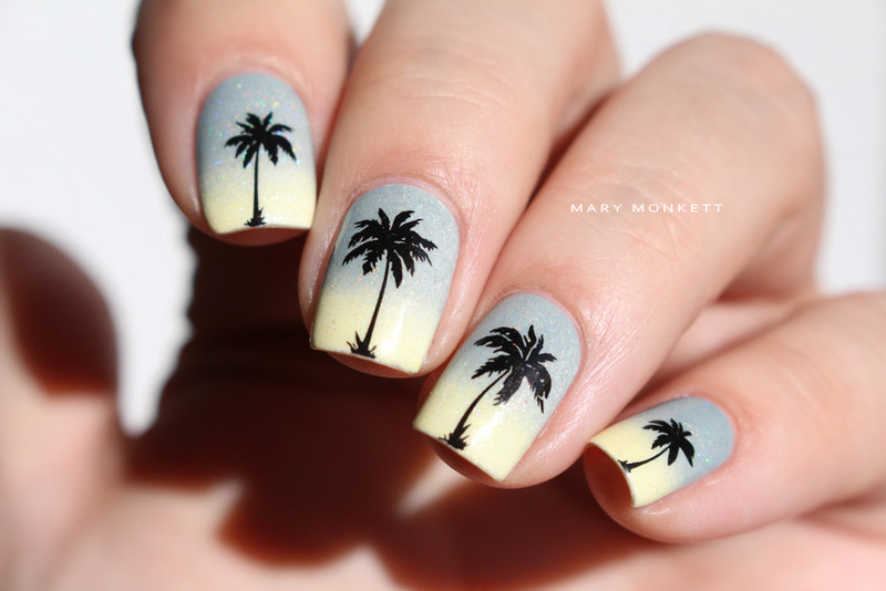 Gradient gris jaune et palmiers nail art by Mary Monkett