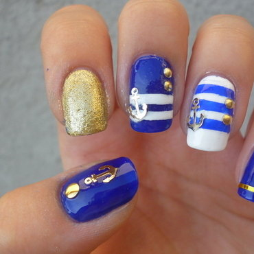 Nautical Nail Art nail art by Katia