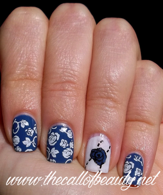Blue Roses nail art by The Call of Beauty