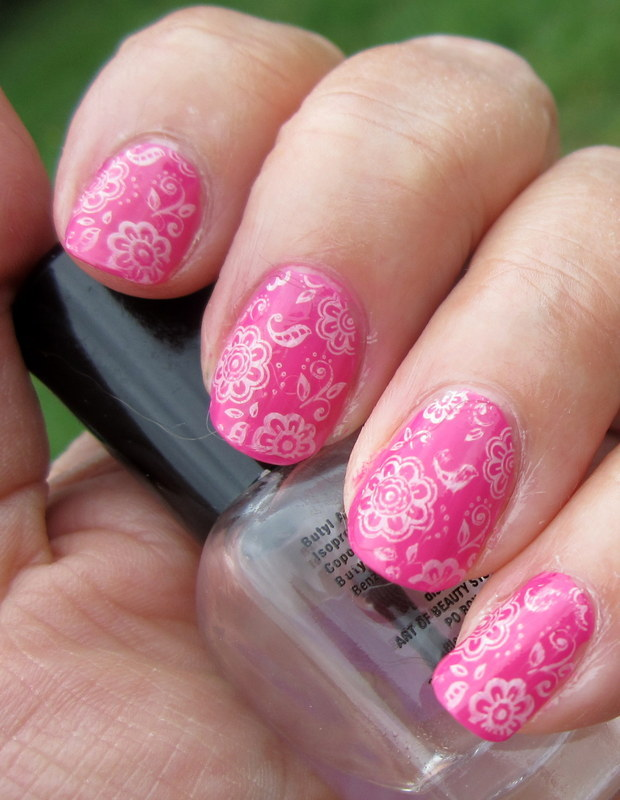 Paisley on Pink nail art by HELEN KAY
