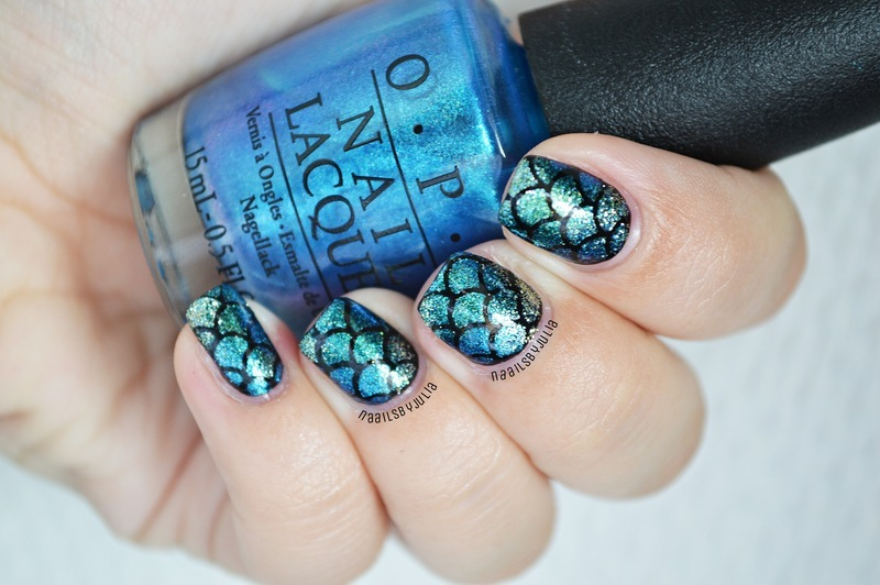 Mermaid scale nail art by Julia