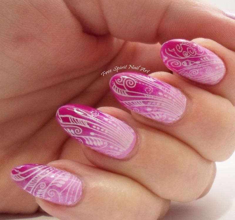 Pink Stamping nail art by Free_Spirit_Nail_Art