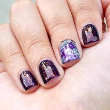 Purple Flakies and Waterspotting Nail Art nail art by Monica
