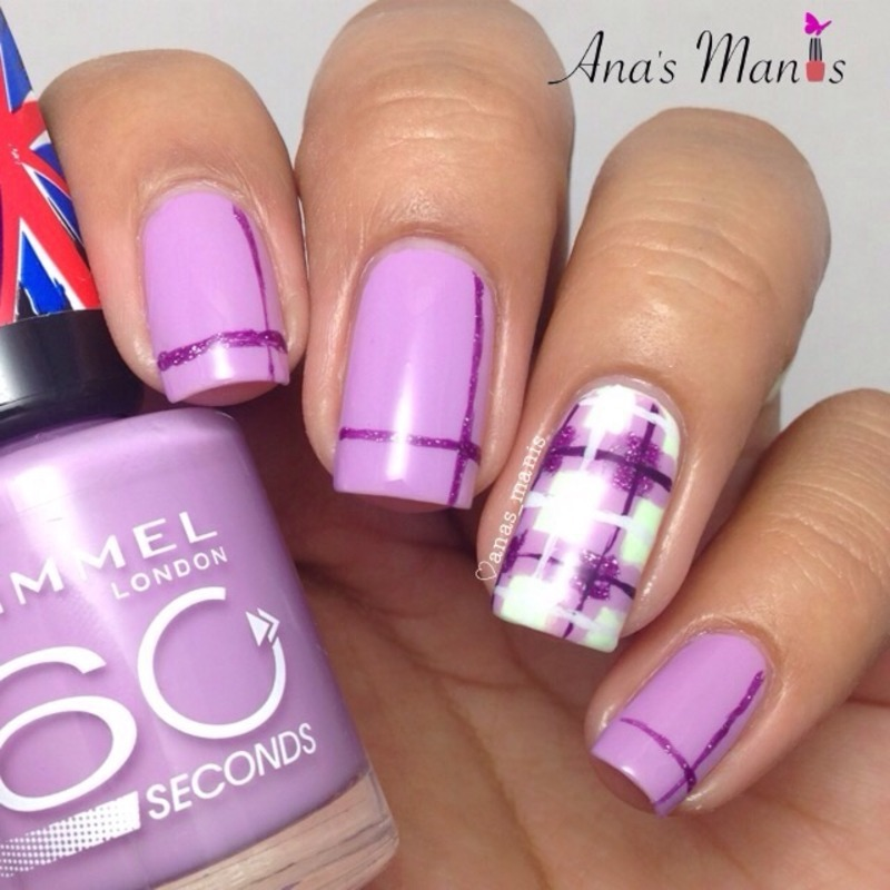 Purple plaid accent nail art by anas_manis