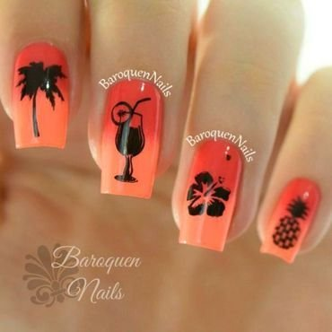 Hawaiian Ombre nail art by BaroquenNails
