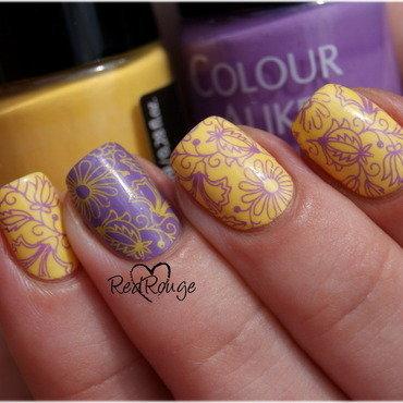 Folk flowers nail art by RedRouge