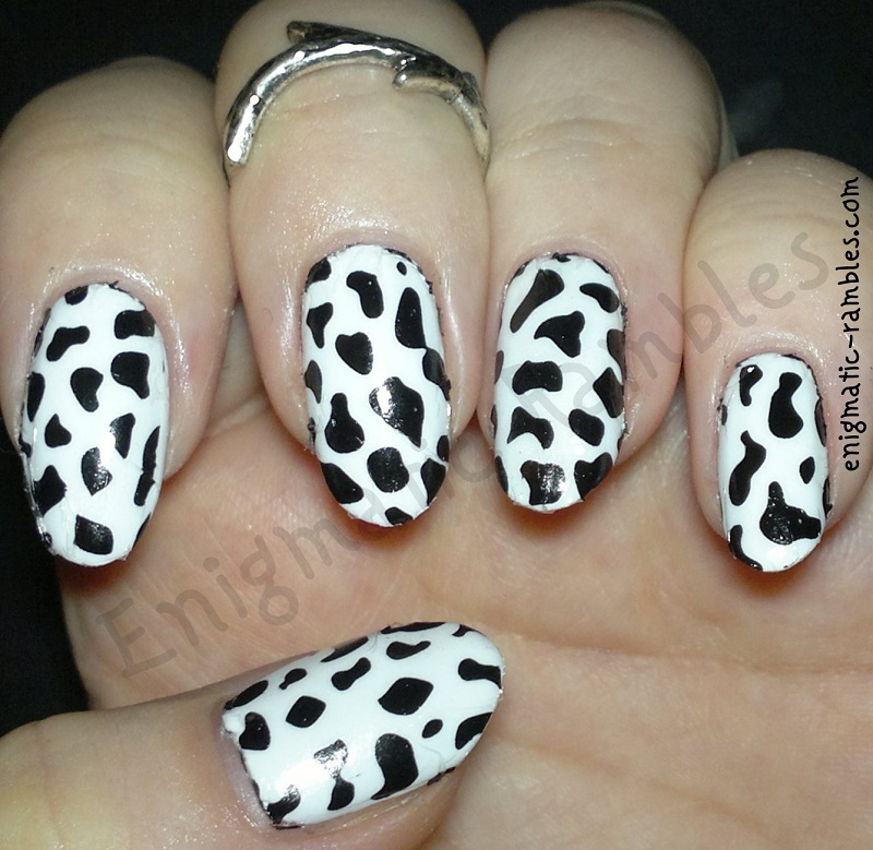 Cow Print nail art by Enigmatic Rambles