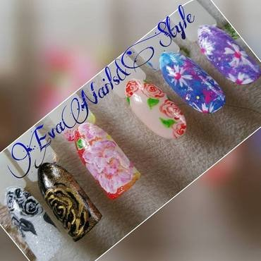 Flowers nail art by Ewa EvaNails