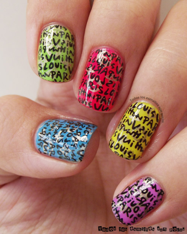 Louis Vuitton Paris pattern nail art by Maria - Nailpolis: Museum of ...