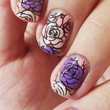 Purple and pink roses nail art by Maria