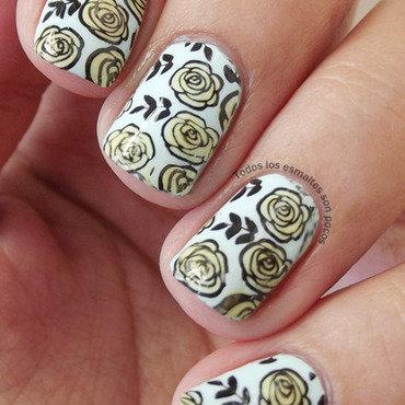 Cute roses nail art by Maria