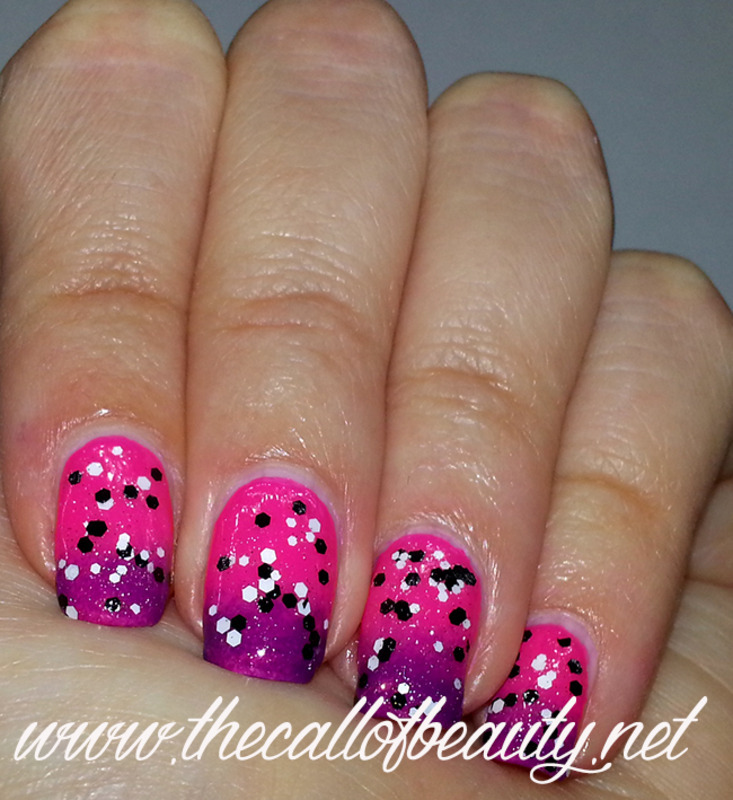 Fuchsia to Purple Gradient nail art by The Call of Beauty