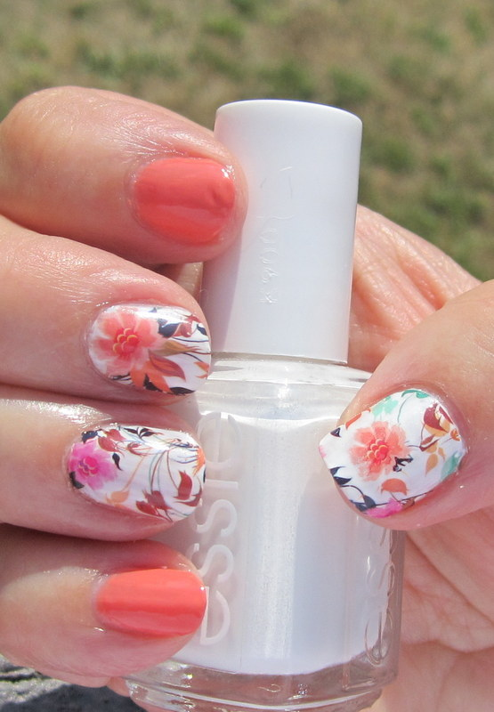 Peaches and Cream Flowers nail art by HELEN KAY
