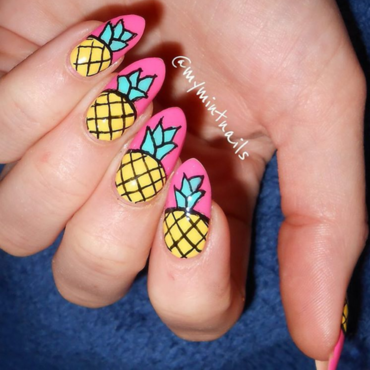 Pineapples on Pink nail art by MyMintNails