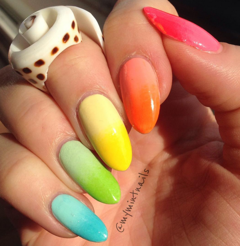 Bright Ombre Gradient nail art by MyMintNails