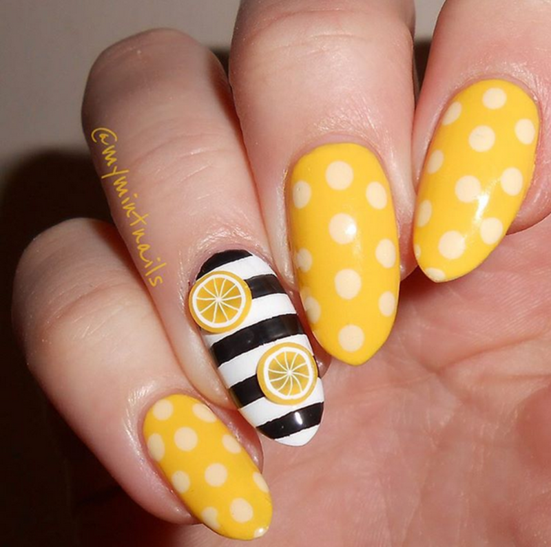 Lemons, Spots and Stripes nail art by MyMintNails