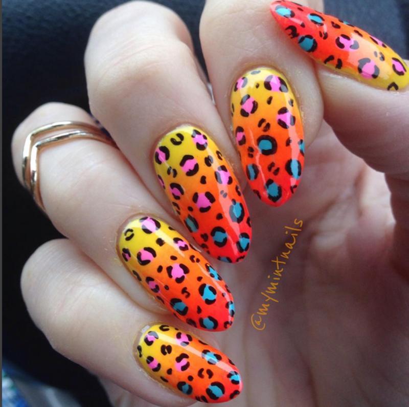 Leopard Print Gradient nail art by MyMintNails