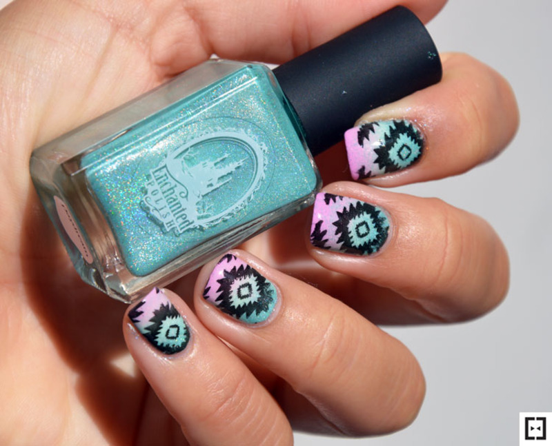 Tribal stamping nail art by Sweapee