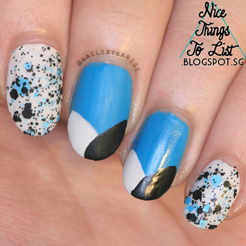 Curved French Tip with Blue Glitter nail art by Karise Tan