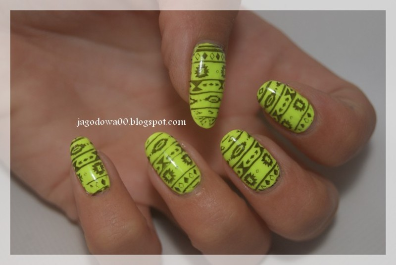 Yellow aztec nail art nail art by Jadwiga