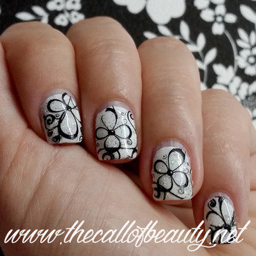 Black and White Floral nail art by The Call of Beauty
