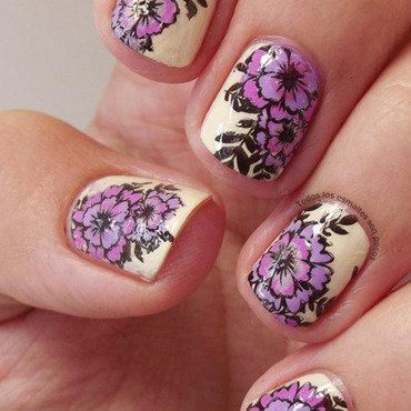 Purple flowers nail art by Maria