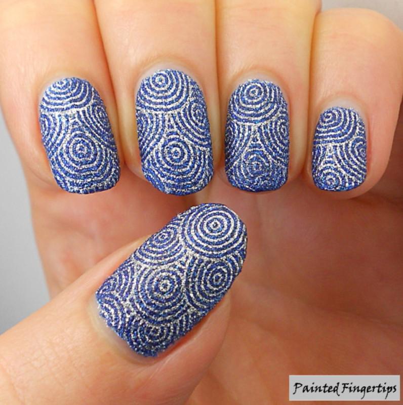 Silver circle stamping nail art by Kerry_Fingertips