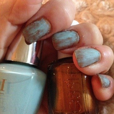 Copper with a patina finish nail art by Sarah Sanchez