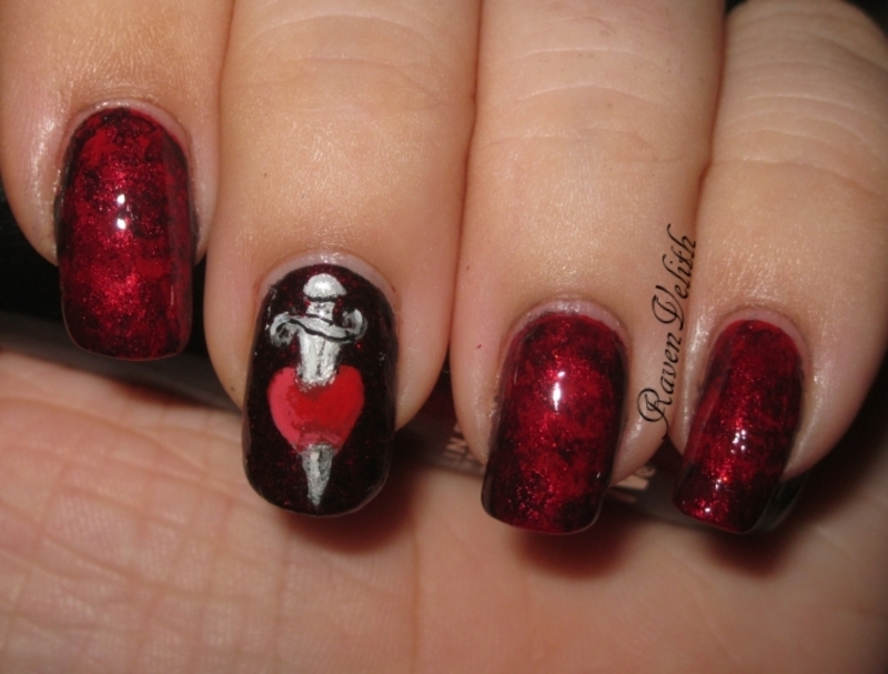 Seven Deadly Sins: Wrath nail art by Lynni V.