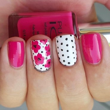 Flowers and Polkadots  nail art by Olivia D.