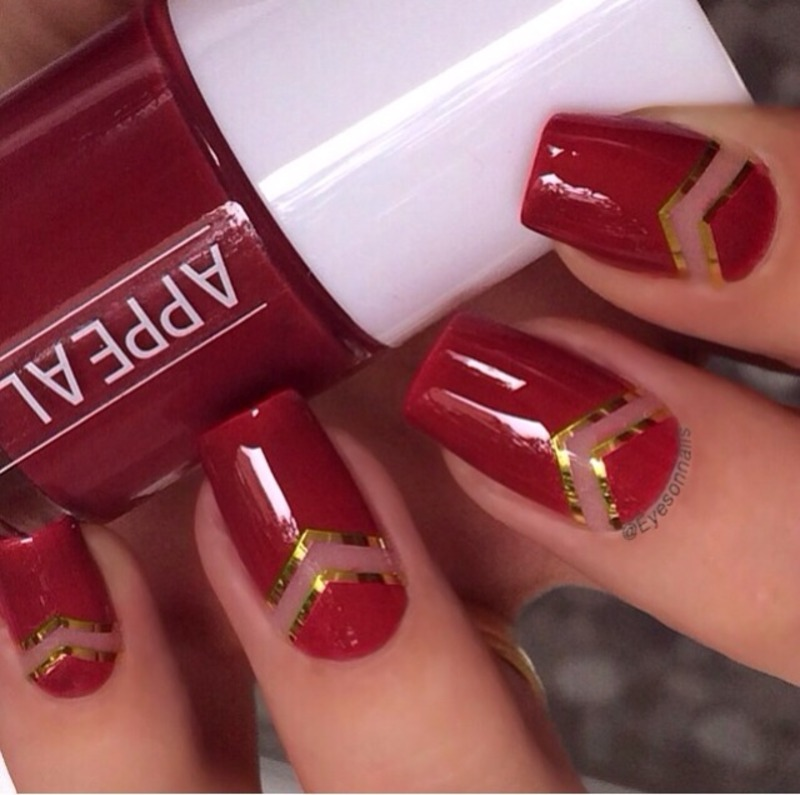 Red 'n' gold nail art by Virginia - Red 'n' Gold Nail Art By Virginia - Nailpolis: Museum Of Nail Art