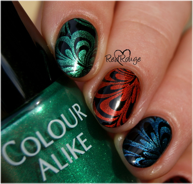 Fake Water Marble nail art by RedRouge