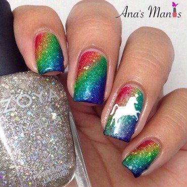 Unicorn rainbow nail art by anas_manis
