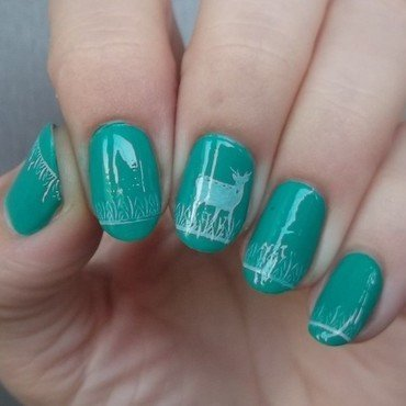Green nails- lonely Bambi in the forest nail art by Sabina
