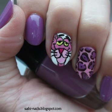 Pink panther on violet nails nail art by Sabina
