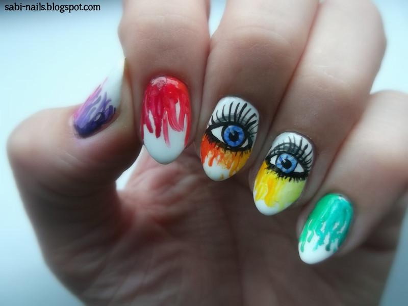 Rainbow nails nail art by Sabina