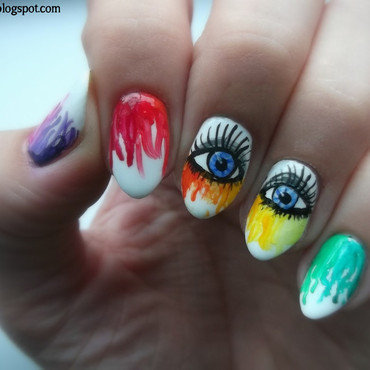 Rainbow nails nail art by Sabina