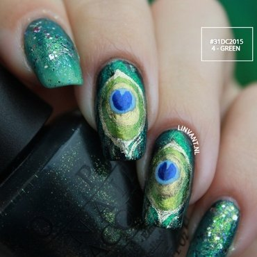 Show Me Your Peacock nail art by Lin van T