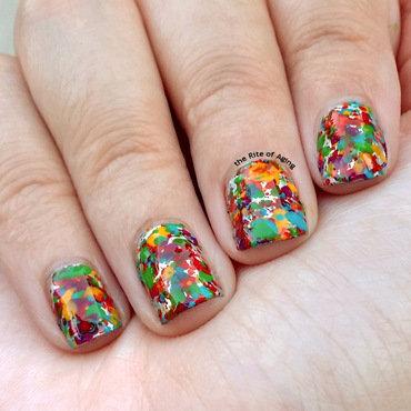 Rainbow Splatter Nail Art nail art by Monica