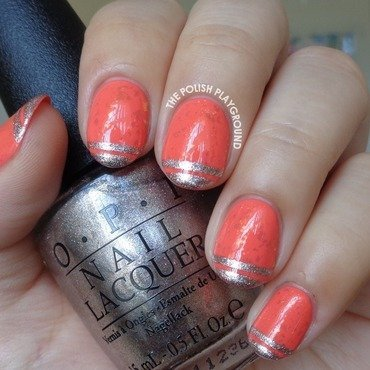 Coral Flakie with Stripe Tips nail art by Lisa N