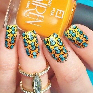Bright Manicure (stamping decal technique) nail art by Lou