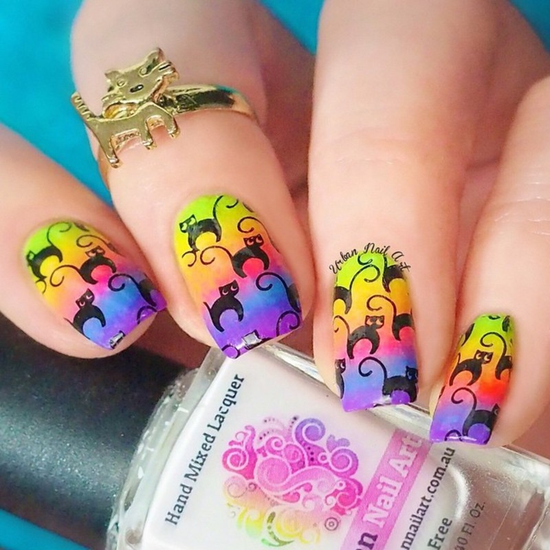 'Catlover' Design nail art by Lou