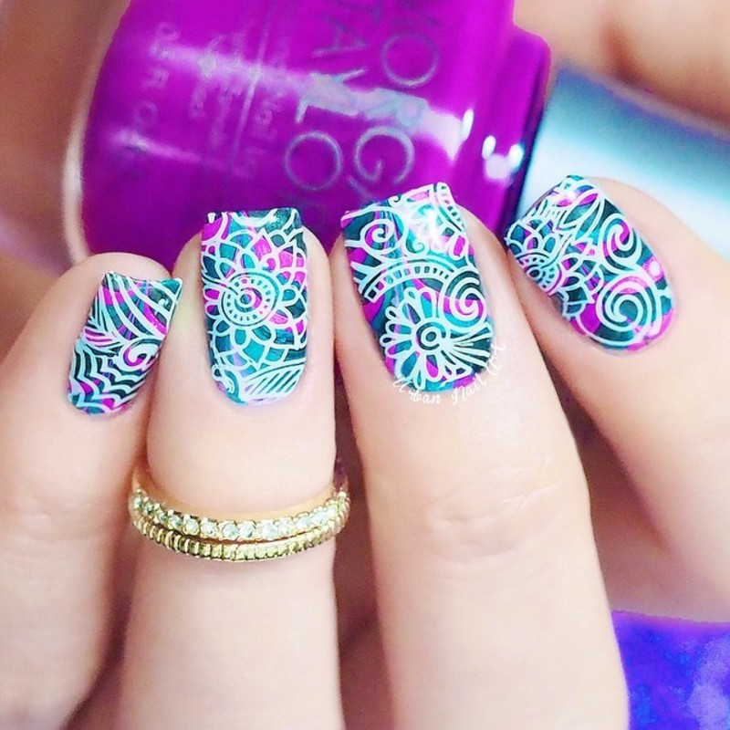 Stamping Over Watermarble nail art by Lou