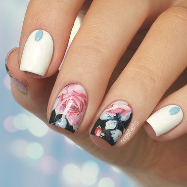 Rose Water decals nail art by nagelfuchs