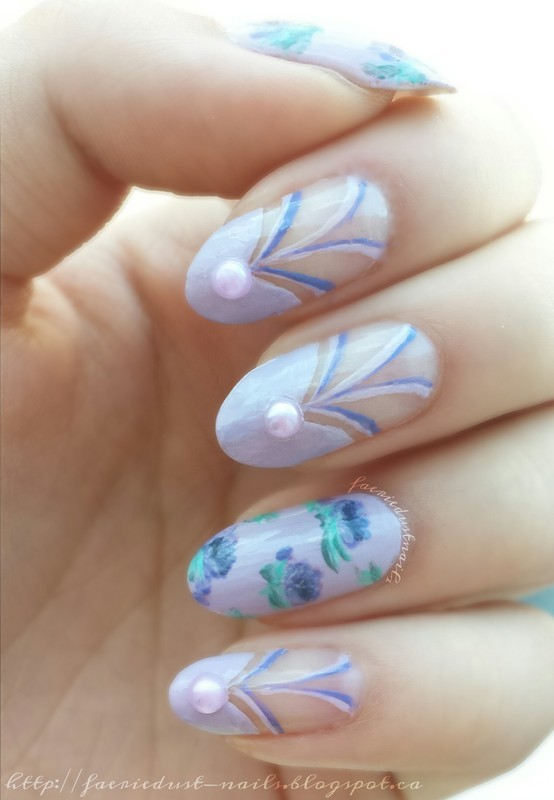 Lavender Themed Floral Nails nail art by Shirley X.