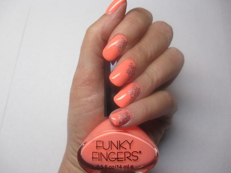 Funky Peach Floral nail art by NinaB