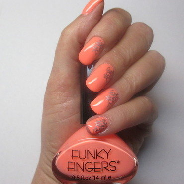 Funky Peach Floral nail art by NinaB