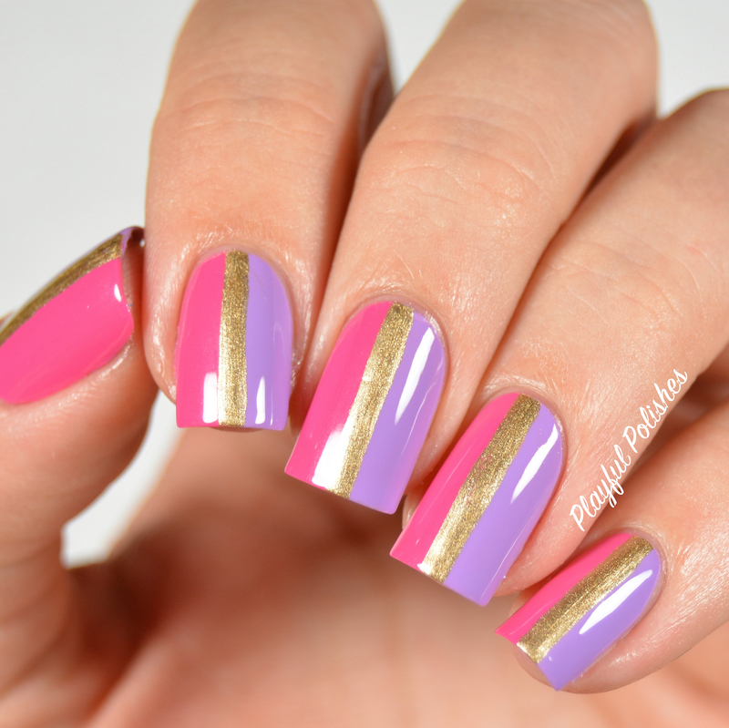 31DC2015: Day 12, Stripes nail art by Playful Polishes
