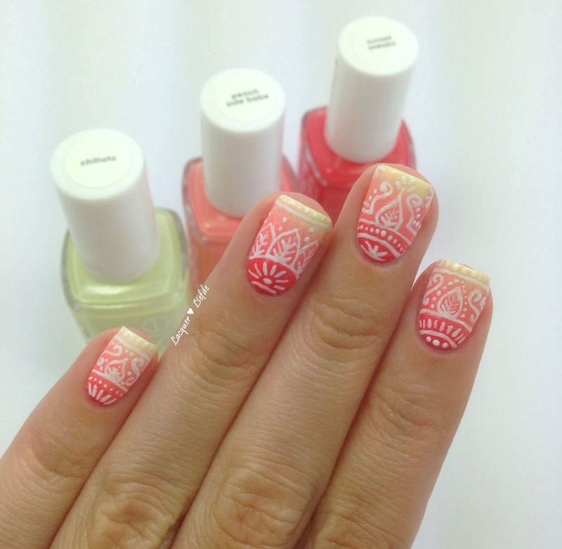 Floral Sumemr Gradient nail art by Anna