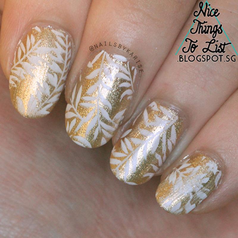Gold and White Leafy Mani nail art by Karise Tan